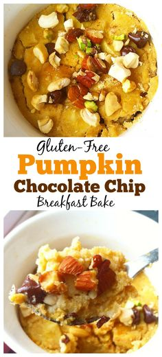 Need a quick and #healthy breakfast idea to help your day get off to the right start? then make this #glutenfree Pumpkin Chocolate Chip Breakfast bake! It's made with only a few ingredients and takes only a few minutes to cook! #vegan #pumpkin
