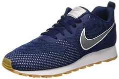 finest selection c9e17 b8e62 NIKE MD Runner 2 Eng Mesh, Sneakers Basses Homme, Multicolore (Midnight  Navy Metallic Silver Gym Blue 001), 40 EU
