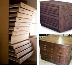 deep, wide and shallow drawers, in the esprit of artist's storage cabinets. The shallower the drawer, the more economical, a shallow drawer allows storing up to three times more scarves than a conventional one