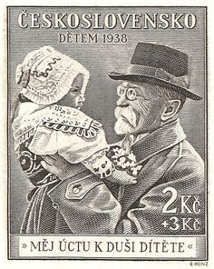 Stamp block detail - Masaryk and child - 1938 Ceskoslovensko. ~Via alexander gior~gadze Postage Stamp Art, Heart Of Europe, Love Stamps, Cartoon Faces, My Roots, Small Art, My Heritage, Czech Republic, Sketches