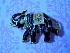 Vintage Figural Circus Elephant Brooch Pin Black Enamel Goldplate & Rhinestones #unbranded