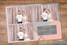 This is a pink and gray with rose gold foil photo booth template. Simply edit the text with the layered customizable PSD file. All the color blocks and borders are on separate layers and Photobooth Template, Create Photo, Rose Gold Foil, Pink Grey, Gray, Best Day Ever, Custom Photo, Business Card Design, Photo Booth