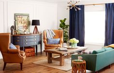 A hand-me-down buffet's original cherry finish felt a little formal for this Arizona ranch home, but with some matte chalk paint, the item took on a more casual look that set the tone for equally laid-back vintage pieces, from the leather luggage (that stores extra blankets) to a coffee table made from an antique mission door. A midcentury turquoise sofa adds a splash of happy color.   - CountryLiving.com