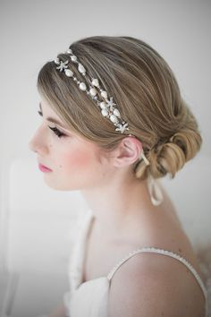 Beach Bridal Headband Pearl Wedding Headpiece Hair Accessory Ribbon
