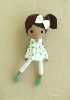 Fabric Doll Rag Doll Brown Haired Girl in Green by rovingovine