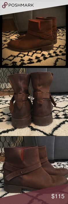 Madewell Biker Boots Madewell Biker Boots in brown. Gorgeous soft leather. Barely worn. Excellent condition. perfect for fall with jeans or dresses! Madewell Shoes Ankle Boots & Booties
