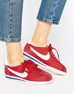 Shop Nike Classic Cortez Nylon Trainers In Red at ASOS. 56187e1e35a87