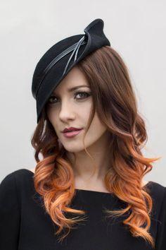 Vintage Style Hat, Elegant Winter Hat, Black Hat, Side Tilt, Made to Order - Harriet