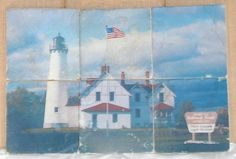 Point Iroquois Lighthouse Tumbled Stone Tile by TreeSqueaks, $90.00