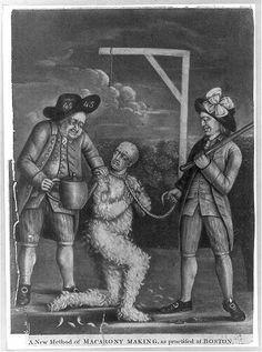 """A New Method of Macarony Making, as Practised at Boston,"" print, circa 1774. #americanrevolution #bostonhistory #sonsofliberty"