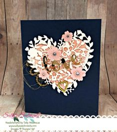 Handmade Wedding card, Night of Navy Wedding card, Watercolored powder pink heart, Stampin' Up! Bloomin heart thinlit cut using Shimmer White Paper, 3 flowers cut with SU Bloomin Heart thinlits painted powder pink with wink of stella pen, handcrafted, handmade, crafting, wedding card idea, stampin up, Bloomin' Heart, Wink of Stella, Beautiful Wedding Card, Sallyssentiments.com