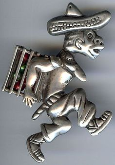 COMICAL VINTAGE MEXICO STERLING SILVER RUNNING MAN WITH BASKET OF GOODIES PIN