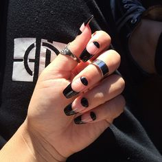 badass black negative space nails