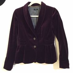 J. Crew Velvet Blazer (Purple) J.Crew Eden Blazer •Beautiful deep purple velvet fabric •Slight peplum style •Blazer has two buttons in the front and two pockets on the front side of the jacket •Size 2 •In fantastic condition and is such a statement piece for any outfit J. Crew Jackets & Coats Blazers