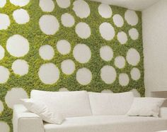 Indoor garden walls.  The stabilized lichen lives off the moisture in the air, thus requiring little to no upkeep – pruning becomes a thing of the past and watering passe as well. Even natural light is not necessary.  Making it ideal for living walls.
