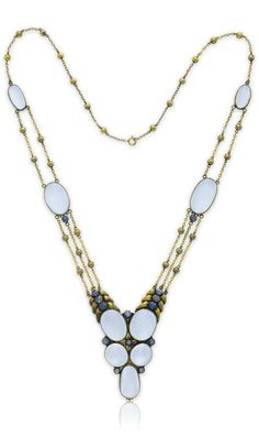 LOUIS COMFORT TIFFANY, TIFFANY & CO. - A MOONSTONE, SAPPHIRE AND GOLD NECKLACE, CIRCA 1925. Suspending a V-shaped sculpted gold plaque of foliate motif, set with five oval moonstone cabochons, with circular-cut sapphire accents, to the graduating strand finelink and gold bead neckchain, spaced by collet-set oval moonstone cabochons, 25 ins. Signed Tiffany & Co. #LouisComfortTiffany