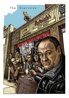 The Sopranos - alternative movie poster 2014 The Godfather Poster, Tony Soprano, Cigar Art, Vintage Television, Alternative Movie Posters, Movie Poster Art, True Art, Old Tv, Good Movies