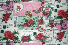 100-Cotton-Rose-amp-Hubble-French-Chic-Vintage-Decoupage-Floral-Pink-Rose-Fabric