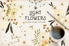 Light Flowers - floral handmade cliparts with gold paint - Ideal for invitations, wedding invitations, handmade craft items, scrap booking, printed paper items Fun Illustration, Floral Illustrations, Hand Drawn Fonts, Hand Lettering, Watercolor And Ink, Watercolor Flowers, Flower Lights, Flower Clipart, Gold Paint