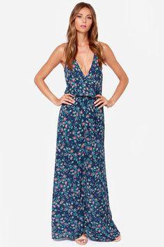 Country Lane Blue Floral Print Maxi Dress at Lulus.com!