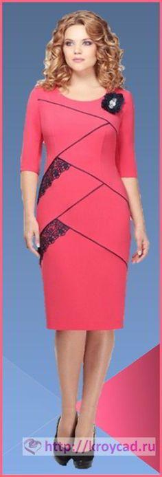 Платье футляр с рельефами и кружевом 1