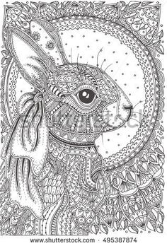 Hand-drawn rabbit with ethnic floral doodle pattern. Coloring page - zendala, design for coloring for adults, vector illustration, isolated on a white background. Bunny Coloring Pages, Abstract Coloring Pages, Dog Coloring Page, Easter Colouring, Free Adult Coloring Pages, Mandala Coloring Pages, Colouring Pages, Coloring Books, Coloring Sheets
