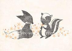 Happy Fox & Skunk Print by whimsywhimsical on Etsy. $12.00, via Etsy. (tattoo idea)