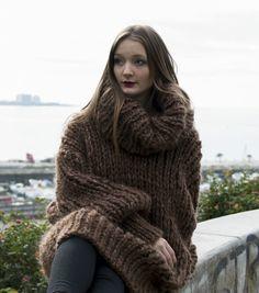 Extra Chunky Longhair mohair sweater L  XL  T-neck removable by LanaKnittings #Handmade #TurtleneckMock