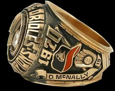 Left side view of '70 World Series ring. Name shown...Dave McNally-Pitcher. One of 3 20 Game winners that year for the O's (Palmer, Cuellar). World Series fact. Dave McNally- become the 1st Pitcher to hit a Grand Slam in WS history