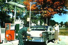 https://flic.kr/p/UxfzMe   Found Photo - Gassing up the Vintage Ford   At the Sinclair Station, Dated 1959