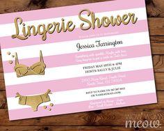 Pink Lingerie Shower Invitation Stripe Invite Gold INSTANT