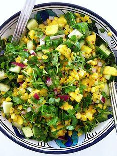 Spicy Mango and English Cucumber Salad Cucumber Salad, Cobb Salad, English Cucumber, Fish Sauce, Spicy, Salads, Mango, Foods, Drinks