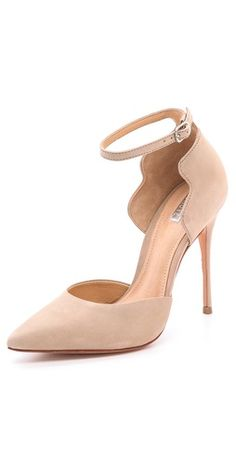 Schutz Floralite Pumps | SHOPBOP. Nude pointy toe stiletto pumps with ankle strap and scalloped heel cap. Great neutral work shoe.