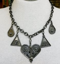 Vtg Ethnic Moroccan Repro Dangle Charm Choker Necklace Dark Silver Tone #NotSigned #Boho
