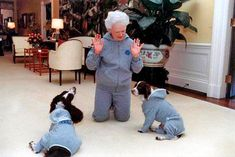 At Home With Presidential Families - Traditional Home® President George H. W. Bush, 1989-1993 First Dogs Ranger and Millie's outfits  match Mrs. Bush's gray sweatsuit in the Residence of the White House in January 1991.  Photograph courtesy of the George Bush Presidential Library
