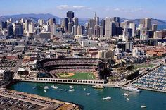Giants Stadium and San Francisco skyline my favorite City ❤️ San Francisco Giants, San Francisco California, Visit California, Skyline 2010, San Francisco Attractions, Giants Stadium, Portugal, Baseball Park, St Francis