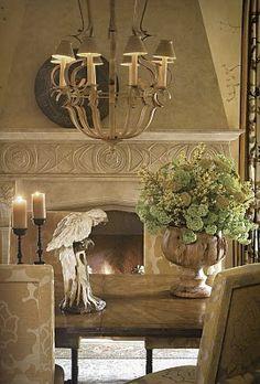 Stunning fireplace, light fixture, dining room decor