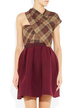 Carven  Asymmetric twill tartan dress