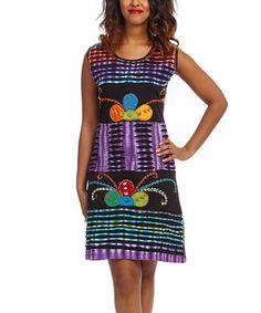 Another great find on #zulily! Black & Purple Floral Tie-Dye Sleeveless Dress #zulilyfinds