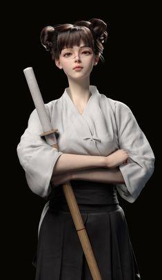 Sexy Renders — by Junsheng Xu 3d Model Character, Female Character Design, Character Modeling, Character Design Inspiration, Character Art, Zbrush Character, Ronin Samurai, Samurai Art, Guerra Anime