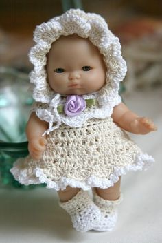 PDF PATTERN Crochet 5 inch Berenguer Baby Doll Scallopes Dress Set Ecru White