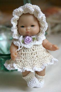 PDF PATTERN Crochet 5 inch Berenguer Baby Doll Scallopes Dress Set Ecru White