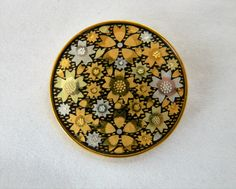 "Vintage Amita Brooch Japanese Damascene Floral Flower Coat Sweater Pin Gold Tone Signed 1.25"" by DecoOwl on Etsy"