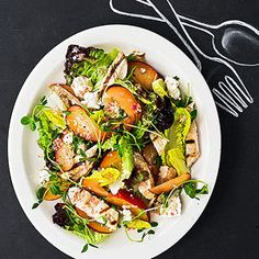 Grilled-Chicken Salad with Goat Cheese and Plums