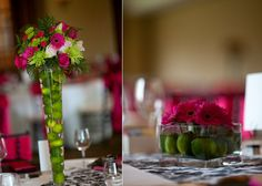 Lime green and hot pink wedding reception decor and wedding flowers  I THINK THIS IS A MUST!!!!!!!!!!!