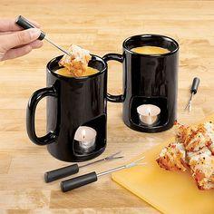 Taza Fondue Personal. Para tomar fondue de queso o chocolate. Las venden en Amazon por 30 $ la pareja.
