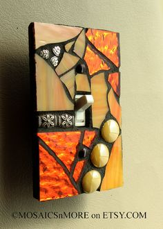 Citrus Orange Single Mosaic Light Switch Cover by MOSAICSnMORE