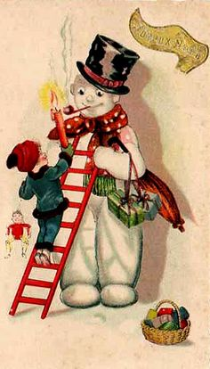 This is cute, but bringing a flaming candle to a snowman seems an unfortunate choice.