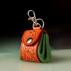 Keyring, keychain, key chain, key ring, keyfob, keyholder. Tiny irish bag. Opened. Engraved leather key chain. Gft for her, for him.Handmaade, purse