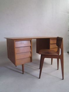 Oak Desk And Chair Desinged By Marcel Gascoin image 8